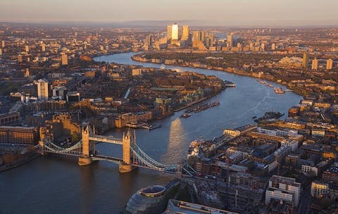 A birds eye view of London and the River Thames