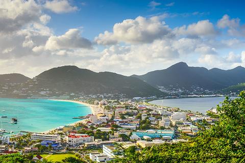 Aerial view of Philipsburg in Saint Maarten