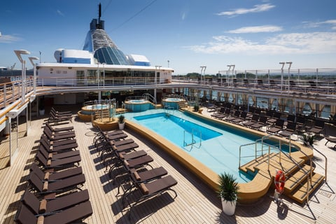 A view of the new pool deck aboard the Silver Spirit