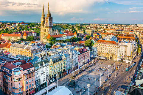 An aerial view of Zagreb Croatia