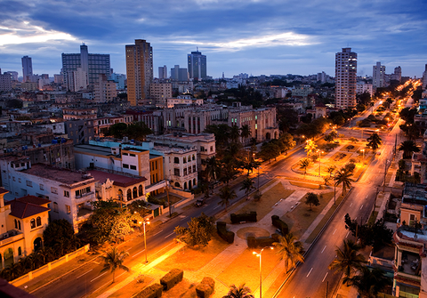 A birds eye view of Havana, Cuba at night