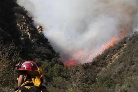 A firefighter monitors a wildfire burning along a hillside in Malibu, CA.