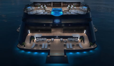 Top-down view of the new yacht in Ritz Carlton Yacht Collection