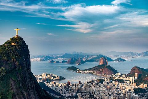 Aerial view of Rio de Janeiro in Brazil