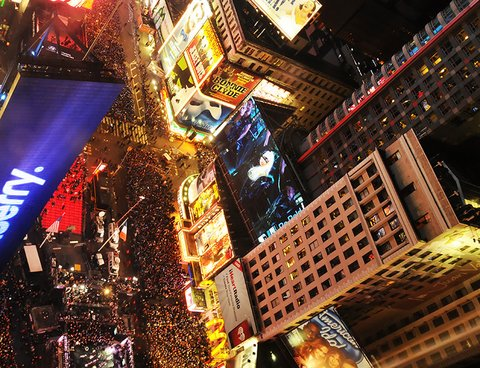Crowds gather to celebrate New Years Eve in New York City's Time Square