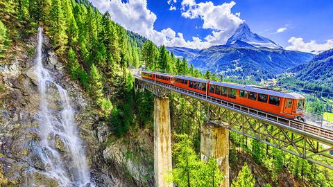 Switzerland's Gornergrat railway connecting Zermatt with the peak of the Gornergrat, with a view of the Matterhorn.