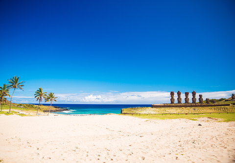 View of the moai heads on Easter Island in front of Pacific Ocean