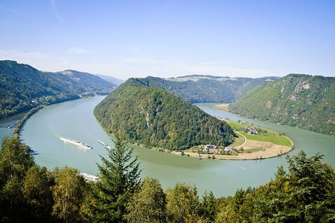 Schloegener Schlinge, a famous geological feature in Upper Austria on the Danube River