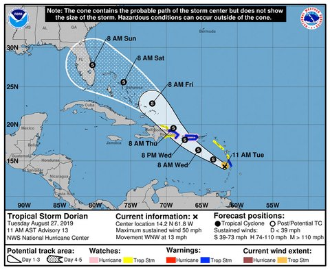 Dorian: Tropical Storm Warning Issued for Dominican Republic