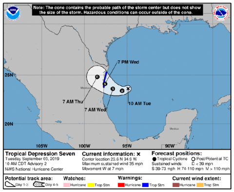 Tropical Depression Seven Heads Towards Mexico and Texas