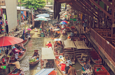 Floating market in Thailand, Bangkok