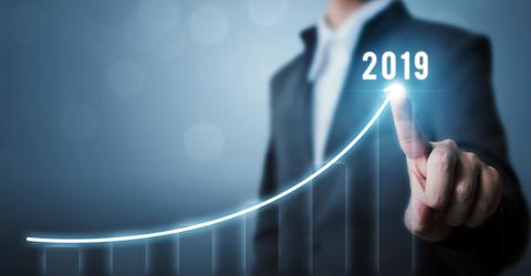 Data trending upward in 2019 on graph