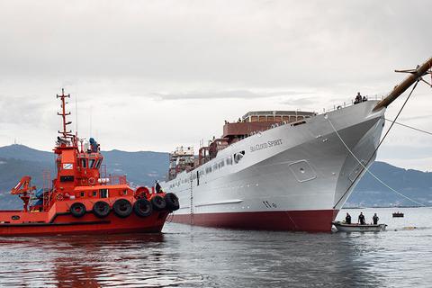 Sea Cloud Spirit during its sea trials