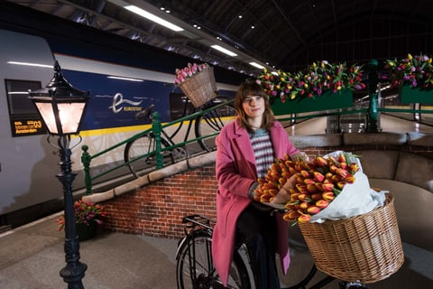 Image of woman on bicycle near trains
