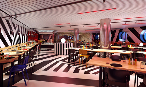 A rendering of the Scarlet Lady's Razzle Dazzle restaurant