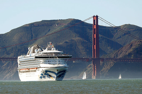 In this Feb. 11, 2020 photo, the Grand Princess cruise ship passes the Golden Gate Bridge as it arrives from Hawaii in San Francisco.