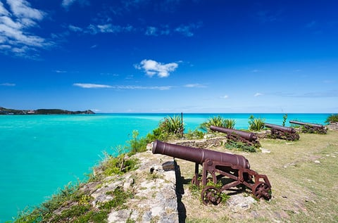 Old cannons at Fort James in Antigua