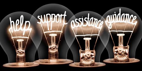 help / support / assistance / guidance / lightbulb