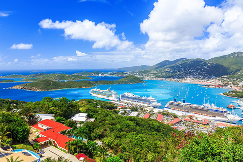 Cruise ships docked in St Thomas in the US Virgin Islands