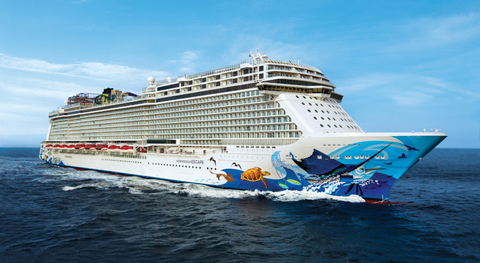 Image of cruise at sea with images of sea life plastered to surface