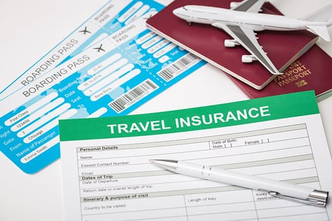 travel insurance with a model airplane, tickets, and a passport
