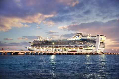 Caribbean Princess Ship at Dusk Editorial