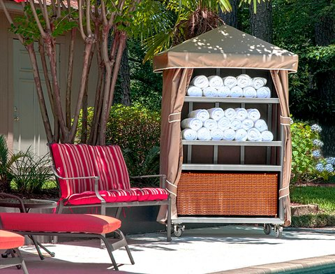 Towel Cabana Was Constructed With Weather Resistant Powdercoated Aluminum.