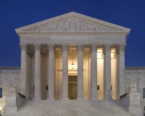 U.S. Supreme Court at night