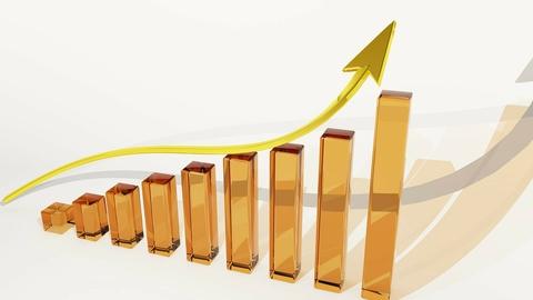 Bar graph with arrow showing upward growth