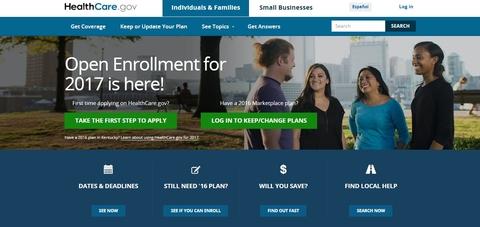 screenshot of Healthcare.gov websit