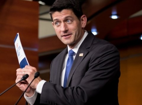 Paul Ryan holding a piece of paper