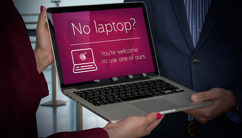 A free laptop provided by Qatar Airways as part of the Laptop Loan service