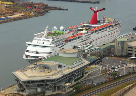 The Carnival Fantasy docked in Mobile, AL
