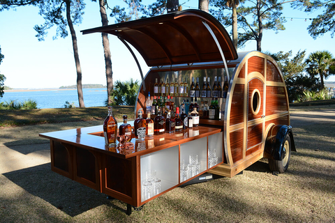The Little Brown Wagon Is An Old School Teardrop Camper Made Out Of Used Bourbon Barrels And Converted Into A Portable Bar