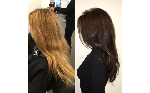 Transformation tuesday bleached blonde to glossy brunette for 3 brunettes and a blonde salon