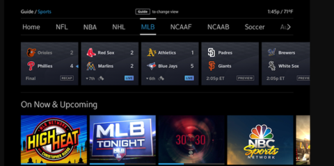 Comcast X1 sports guide