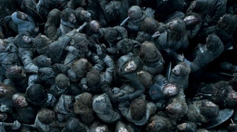 Jon Snow in seemingly hopeless straits in this Game of Thrones battle scene. Image: HBO