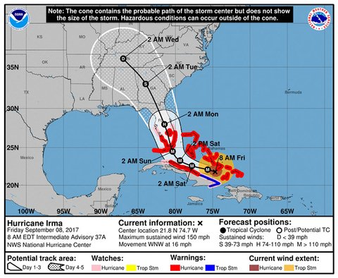 A map showing the forecast track of Hurricane Irma as of Friday morning
