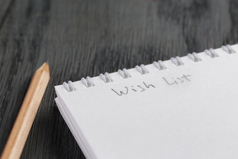 Wish list with a pencil