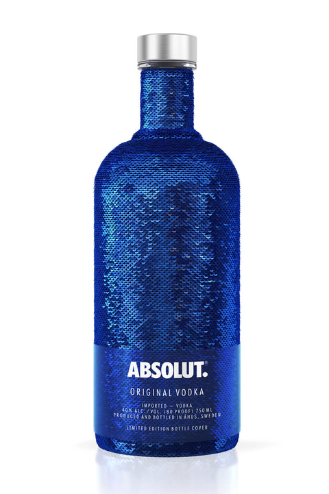 Absolut Holiday sequin vodka bottle - Booze & Baubles Holiday Gift Guide