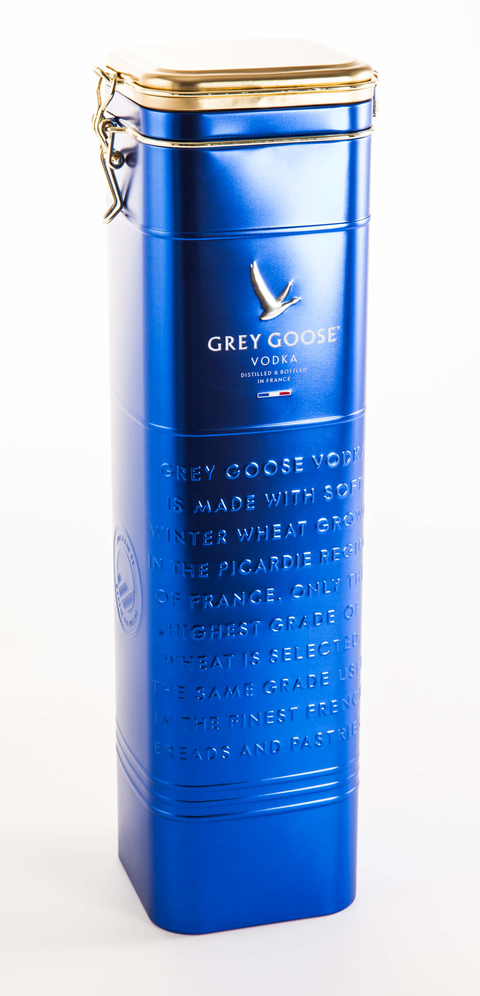 Grey Goose Vodka Flour Tin holiday gift pack - Booze & Baubles Holiday Gift Guide