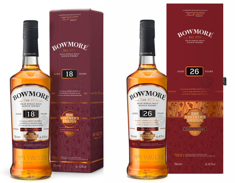 Bowmore The Vintner's Trilogy 17 Year Old Double Matured Manzanilla and 26 Year Old Wine Matured Scotch whiskies - Booze & Baubles Holiday Gift Guide