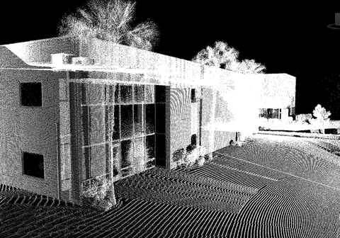 Fig 4: This point cloud was captured by Gameli Revit using a Leica LiDAR unit. Note how the points seem to radiate from a position to the right of the image.
