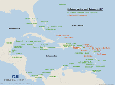 A map of Princess Cruises' ongoing Caribbean port assessments
