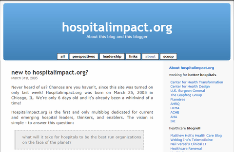 A screen shot of the 2005 Hospital Impact Blog