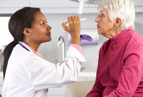 A doctor examining a patient's eyes