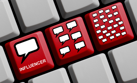 Red keyboard keys influencer marketing