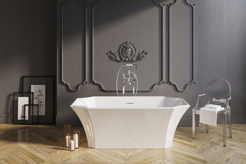 The new tub – which has an early twentieth-century style design – has generous proportions, center drain and smooth surface.