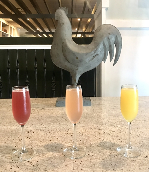 Chicken and the Egg brunch mimosas at brunch - Fizz, Pop, Mimosa!