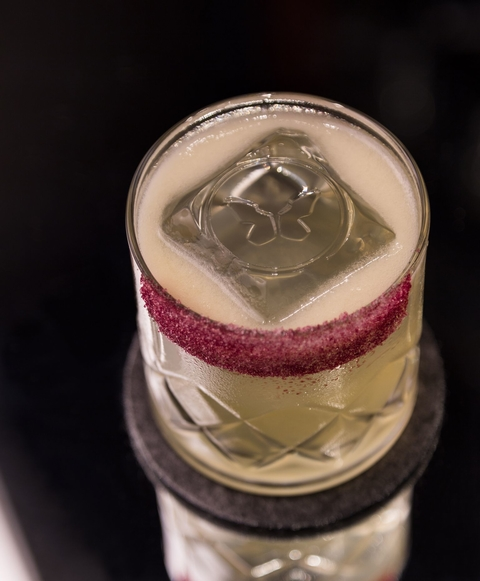 The Monarch Swallowtail cocktail with branded ice - Branding Through Branding